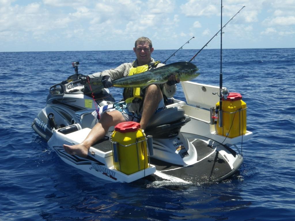Video the shoreline tubby built for the yamaha for Jet ski fishing accessories