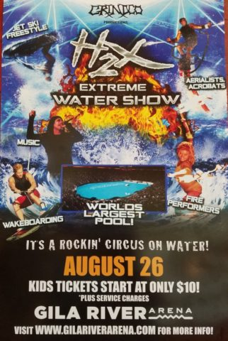 H2x s extreme water show at world s largest portable pool for Extreme pool show